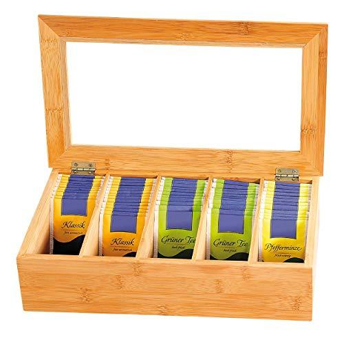 Kesper 50900 Tee-Box aus Bambus, mit 5 Fächern, 36 x 20 x 9...