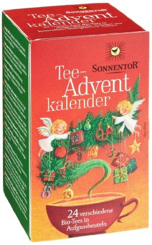 Sonnentor Tee Adventskalender, rot-grüne Spenderbox, 1er Pa...