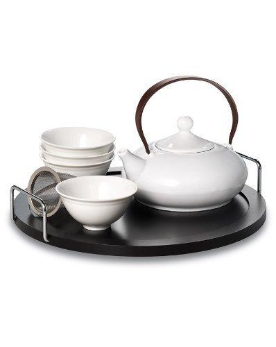 AKUNO Designer Teegeschirr mit vier Teeschalen, Sieb, Tablet...