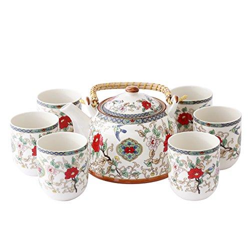 7 Stück Jingdezhen Keramik Tee Set, Gemalte Blume Und Vogel...