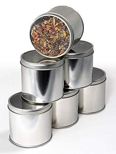 6 Teedosen, Motiv: uni silber mit Sichtdeckel, für ca. 100g...