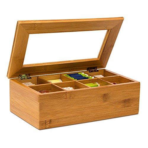 Relaxdays Teebox aus Bambus H x B x T: ca. 9 x 28 x 16 cm Te...