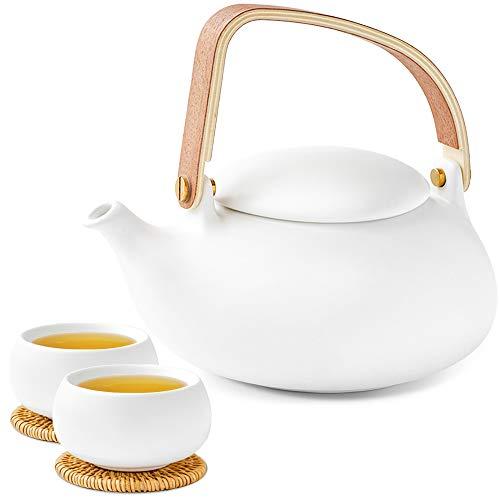 Teekanne mit Tasse Set weiß 800ml porzellan mit 2x doppelwa...