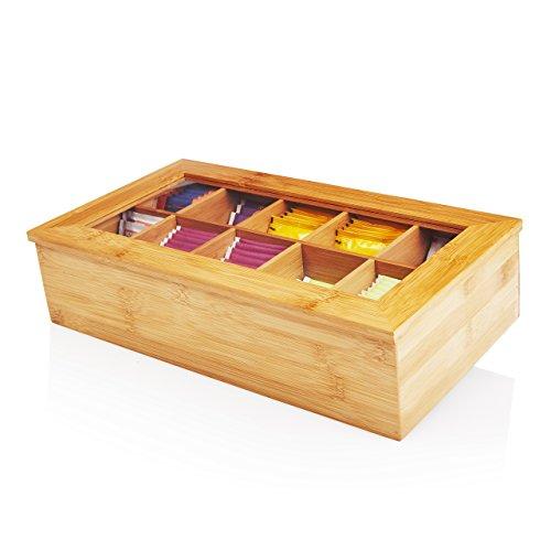 Lumaland Cuisine Teebox aus Bambus Teebeutelbox mit 10 Fäch...