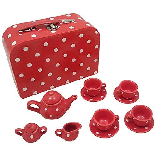 13-Teile Kinder-Teeservice Porzollan - Rot Picknickkoffer - ...